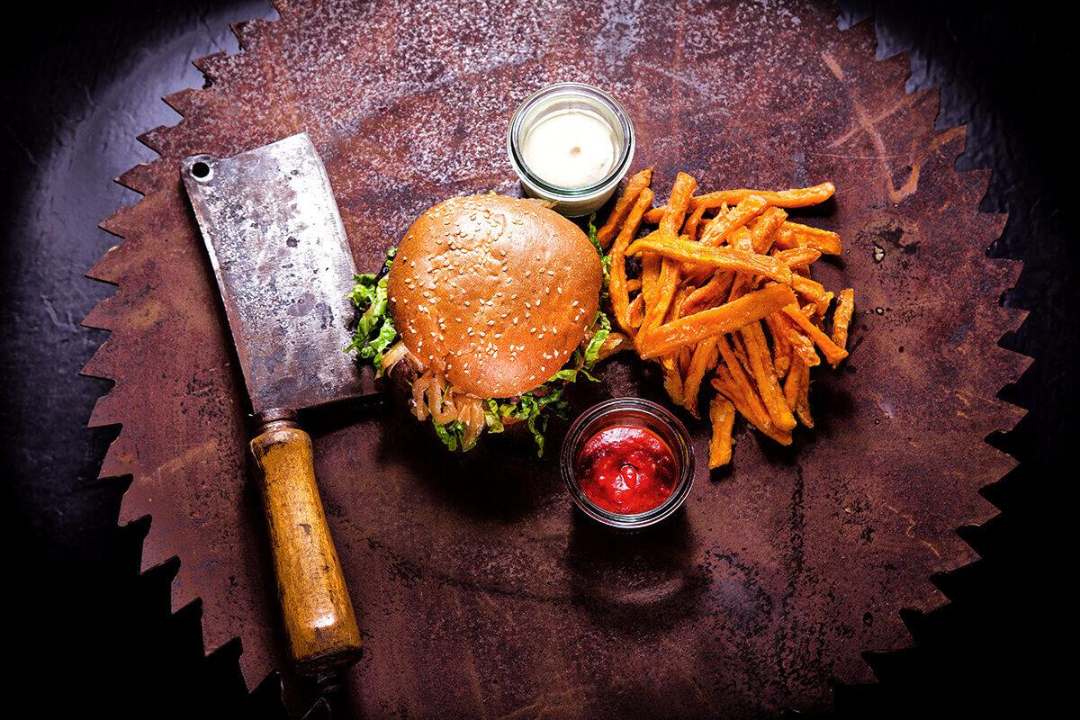Burger Menu auf Sägeblatt