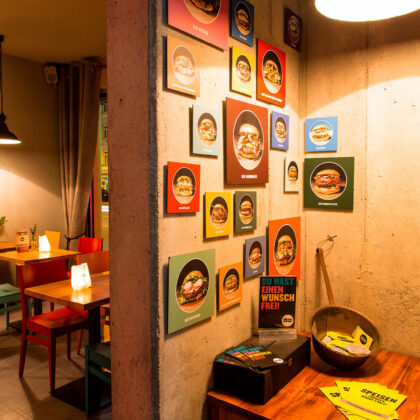 Hamburgerei Haidhausen Burger Wand